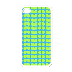 Blue Lime Leaf Pattern Apple Iphone 4 Case (white) by creativemom