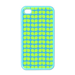 Blue Lime Leaf Pattern Apple Iphone 4 Case (color) by creativemom