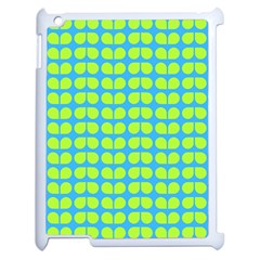 Blue Lime Leaf Pattern Apple Ipad 2 Case (white) by creativemom