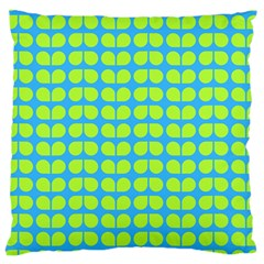 Blue Lime Leaf Pattern Large Cushion Case (single Sided)  by creativemom