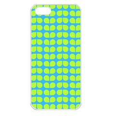 Blue Lime Leaf Pattern Apple Iphone 5 Seamless Case (white) by creativemom