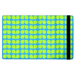 Blue Lime Leaf Pattern Apple Ipad 2 Flip Case by creativemom