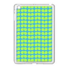 Blue Lime Leaf Pattern Apple Ipad Mini Case (white) by creativemom