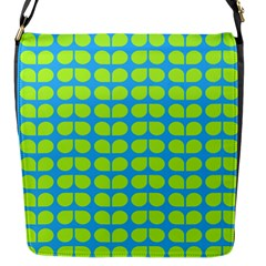 Blue Lime Leaf Pattern Flap Closure Messenger Bag (small) by creativemom