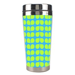 Blue Lime Leaf Pattern Stainless Steel Travel Tumbler by creativemom