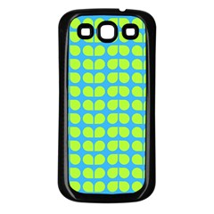 Blue Lime Leaf Pattern Samsung Galaxy S3 Back Case (black) by creativemom