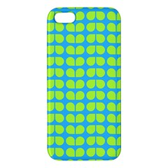 Blue Lime Leaf Pattern Iphone 5s Premium Hardshell Case by creativemom