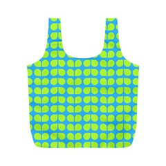 Blue Lime Leaf Pattern Reusable Bag (m) by creativemom