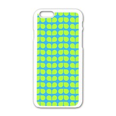 Blue Lime Leaf Pattern Apple Iphone 6 White Enamel Case by creativemom