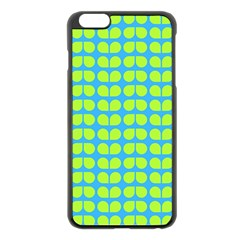 Blue Lime Leaf Pattern Apple Iphone 6 Plus Black Enamel Case by creativemom