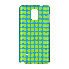Blue Lime Leaf Pattern Samsung Galaxy Note 4 Hardshell Case by creativemom