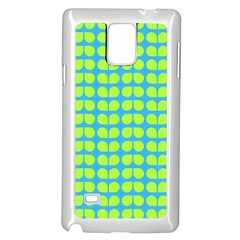 Blue Lime Leaf Pattern Samsung Galaxy Note 4 Case (white) by creativemom