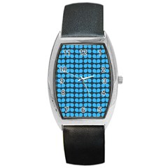 Blue Gray Leaf Pattern Tonneau Leather Watch by creativemom