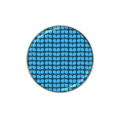 Blue Gray Leaf Pattern Golf Ball Marker (for Hat Clip) by creativemom