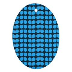 Blue Gray Leaf Pattern Oval Ornament (two Sides) by creativemom