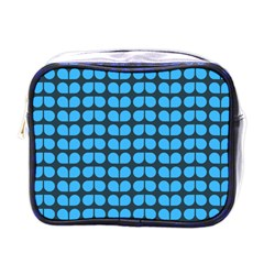 Blue Gray Leaf Pattern Mini Travel Toiletry Bag (one Side) by creativemom