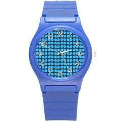 Blue Gray Leaf Pattern Plastic Sport Watch (small) by creativemom