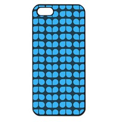 Blue Gray Leaf Pattern Apple Iphone 5 Seamless Case (black) by creativemom