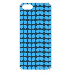 Blue Gray Leaf Pattern Apple Iphone 5 Seamless Case (white)