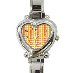 Colorful Leaf Pattern Heart Italian Charm Watch  by creativemom