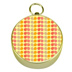 Colorful Leaf Pattern Gold Compass by creativemom