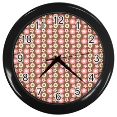 Cute Floral Pattern Wall Clock (black) by creativemom
