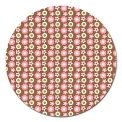Cute Floral Pattern Magnet 5  (round) by creativemom