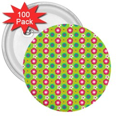 Cute Floral Pattern 3  Button (100 Pack) by creativemom