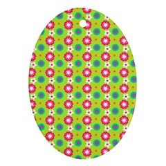 Cute Floral Pattern Oval Ornament (two Sides) by creativemom