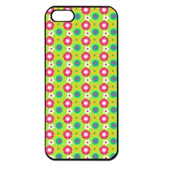 Cute Floral Pattern Apple Iphone 5 Seamless Case (black) by creativemom