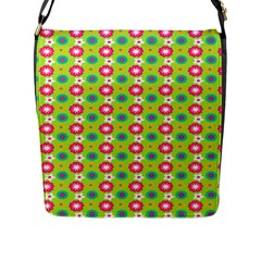 Cute Floral Pattern Flap Closure Messenger Bag (large) by creativemom