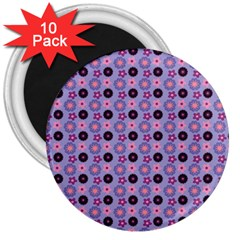 Cute Floral Pattern 3  Button Magnet (10 Pack) by creativemom