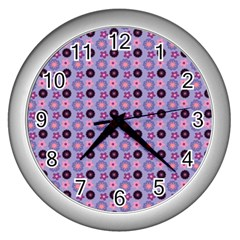 Cute Floral Pattern Wall Clock (silver) by creativemom