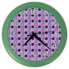 Cute Floral Pattern Wall Clock (color) by creativemom