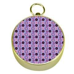 Cute Floral Pattern Gold Compass by creativemom