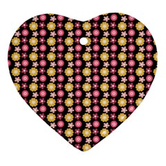 Cute Floral Pattern Heart Ornament by creativemom