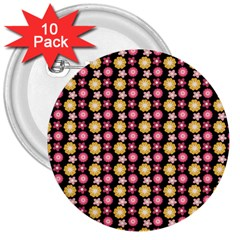 Cute Floral Pattern 3  Button (10 Pack) by creativemom