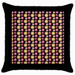 Cute Floral Pattern Black Throw Pillow Case by creativemom