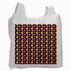 Cute Floral Pattern White Reusable Bag (two Sides) by creativemom