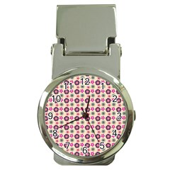 Cute Floral Pattern Money Clip With Watch by creativemom
