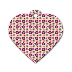 Cute Floral Pattern Dog Tag Heart (two Sided) by creativemom