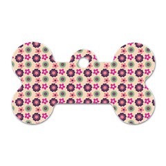 Cute Floral Pattern Dog Tag Bone (two Sided) by creativemom