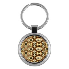 Faux Animal Print Pattern Key Chain (round)