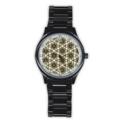 Faux Animal Print Pattern Sport Metal Watch (black) by creativemom