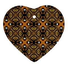 Faux Animal Print Pattern Heart Ornament (two Sides)