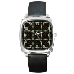 Faux Animal Print Pattern Square Leather Watch by creativemom