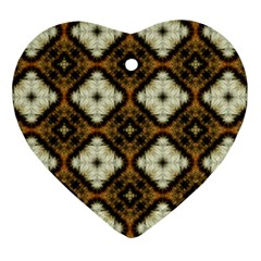 Faux Animal Print Pattern Heart Ornament