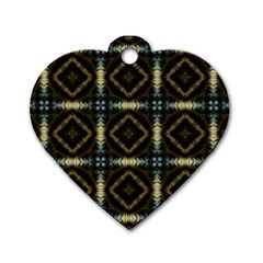 Faux Animal Print Pattern Dog Tag Heart (two Sided)
