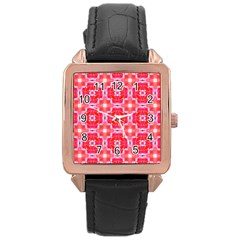 Cute Pretty Elegant Pattern Rose Gold Leather Watch