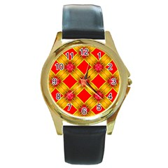 Cute Pretty Elegant Pattern Round Leather Watch (Gold Rim)